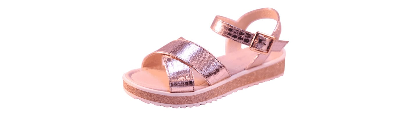 Girls rose gold metallic sandal banner 1