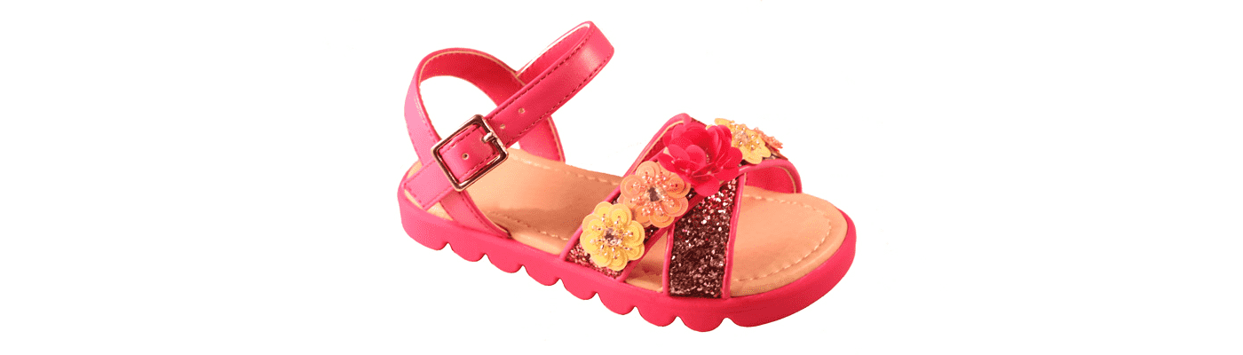 Shocking Pink Girls Glitter & Flowers Sandal 1
